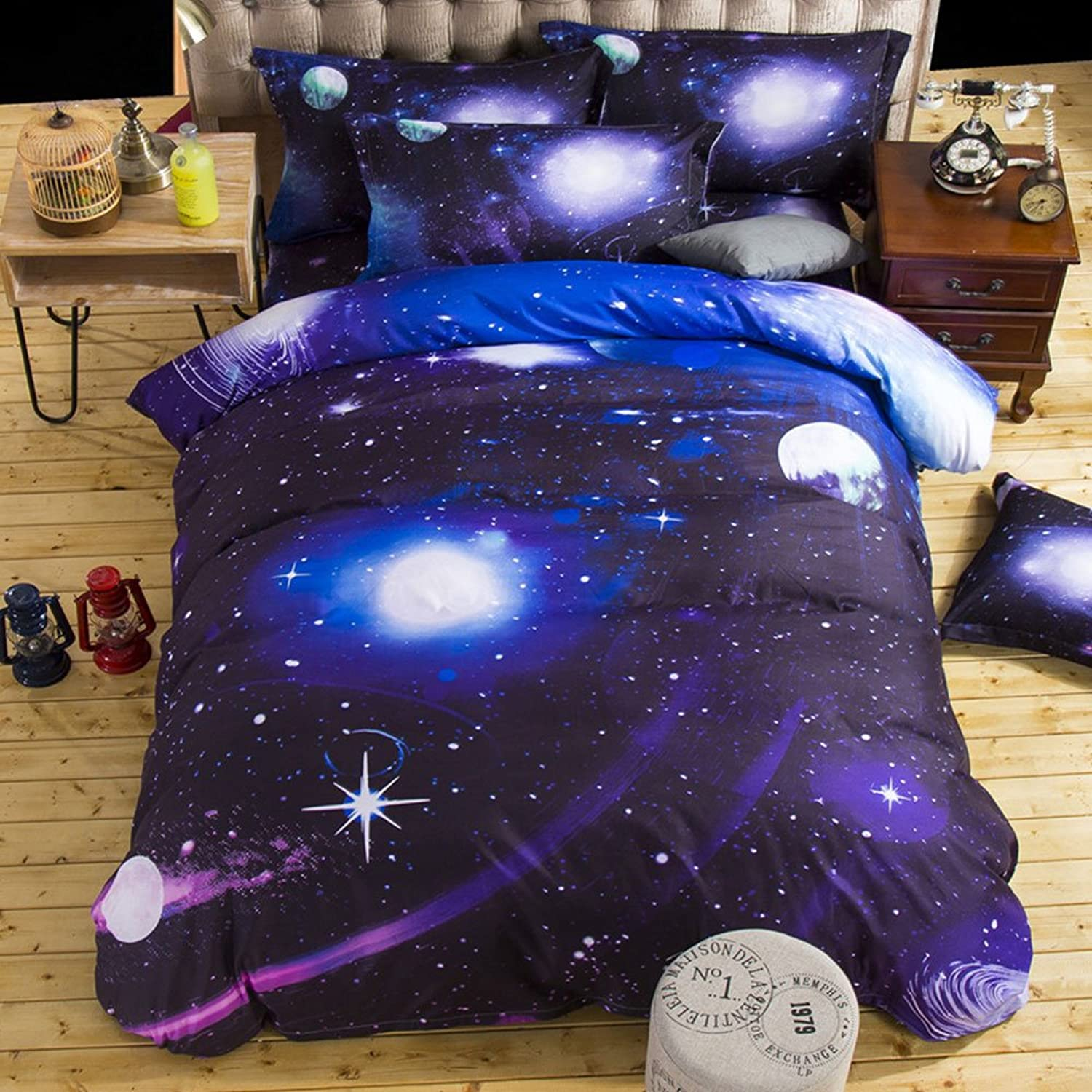 0fcc6438086 Lovingin Galaxy Bedding Set Oil Print Duvet Cover Set Kids Bedding for Boys  and Girls Bedding (Purple bluee), 2Piece Bed Set, Duvet Cover and 1 Pillow  Cases ...