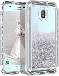 Dexnor Compatible Samsung Galaxy J3 2018/ J3 Express Prime/Amp Prime 3/ J3 Star Case Glitter 3D Bling Liquid Clear 3 in 1 Shockproof Silicone + PC Protective Defender for Girls/Women - Silver