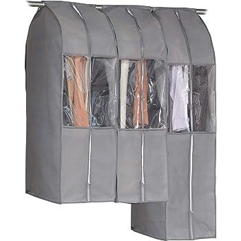 アストロ 洋服カバー ワイド 3枚 (スーツ2枚+ロング1枚) グレー 不織布 透明窓 防虫剤ポケット付き 底までカバー まとめて収納 600-21
