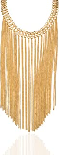 Gold Multi Layered Drop Dangle Long Chain Tassel Statement Necklace For Women