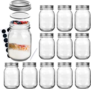 LEQEE Mason Jars 16 oz with Regular Lids and Bands, Canning Jars Ideal for Jam, Honey, Wedding Favors, Shower Favors, Baby...