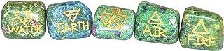 Crocon Ruby Fuschite Engraved Reiki Symbols Healing Stone 5 Pcs Set Chakra Balancing Karuna Stone Energy Generator for Aura Cleansing & EMF Protection Size: 1 Inch