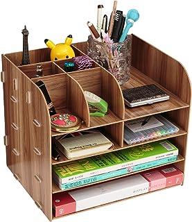 Organiseur de bureau en bois pour fournitures de bureau information classeur bibliothèque papier boîte de rangement porte-...