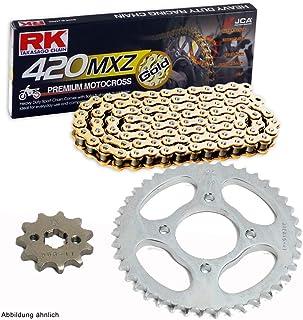Juego de cadenas adecuado para Honda Z 125 Monkey 18-19 cadena RK GB 420 MXZ 98 abierto Oro 15/34