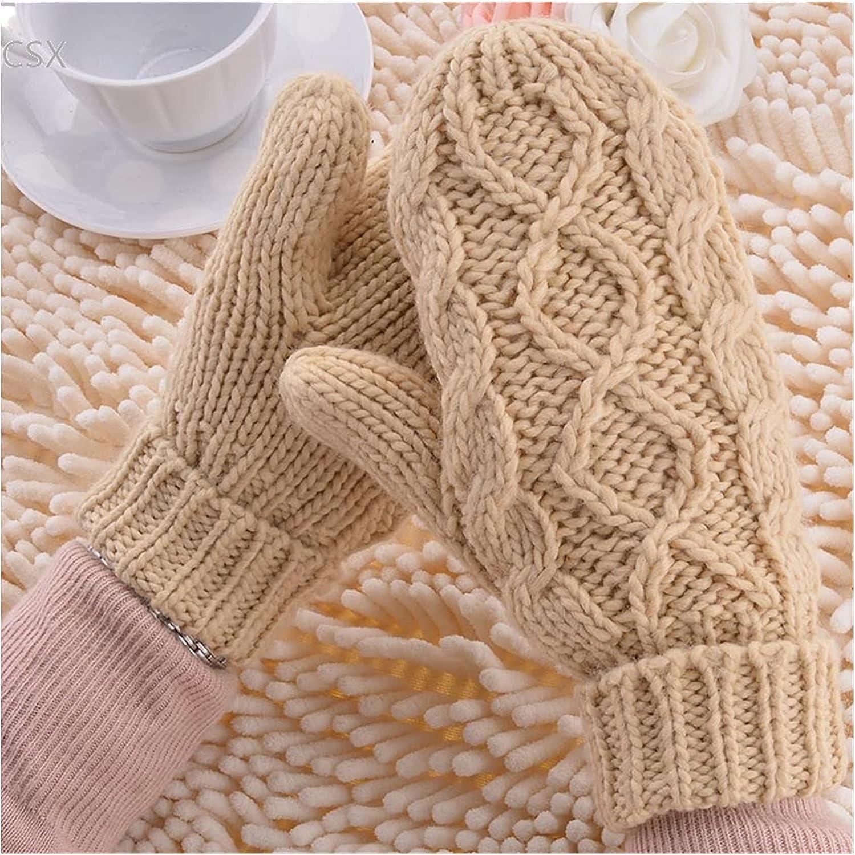 JSJJAWS Winter Gloves Warm Winter Gloves Women Mittens 8 Color Woman Ladies Lovely Knitted Gloves Girls Gift (Color : Khaki)