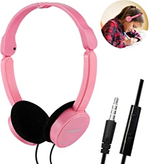 Kids Headphones Over Ear Wired Children Headsets Stereo Headphone Foldable Lightweight Earphones 3.5mm Earpiece with Mic Volume Control Headphones for Kids Boys Girls School Adults iPad Cell Phones