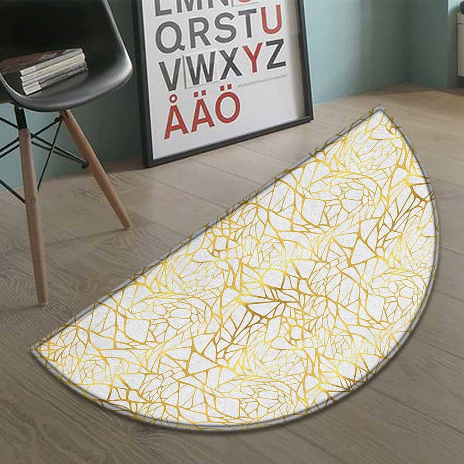 Contemporary Half Round Doormat Outside Abstract Ornament Exotic Animal Pattern Style Feminine Glamor Print Bathroom Mat for tub Non Slip gold Yellow and White Size:35.5 x23.7