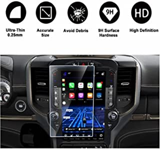 2019 Dodge Ram 1500 Uconnect Touchscreen Car Display Navigation Screen Protector, HD Clear Tempered Glass Protective Film Against Scratch High Clarity (12 Inch)