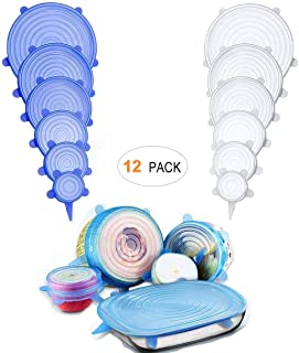 Silicone Stretch Lids 12 Pack,Eco-friendly Reusable Food Kitchen Storage Wraps Cover Keep Fresh,BPA Free Stretchable Seal Lids (Blue6,White6)