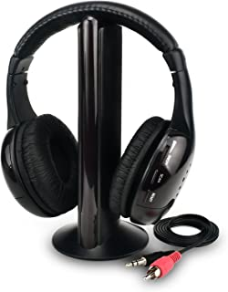 Wireless Tv Headphones Home Headset for Watching, Tv Ears Microphone 5 in 1 Functions with Transmitter, Fm Radio, 3.5mm Jack, Net Chat and Monitoring