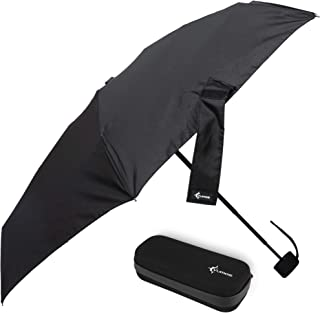 Vumos Small and Compact Travel Umbrella - Portable Mini Umbrella Perfect for Men, Women or Kids. Has Case to store in Pocket, Purse, Backpack or Car - Black