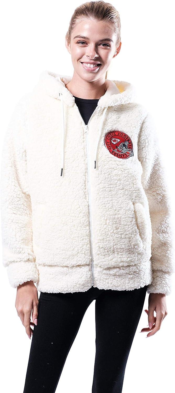 High quality Ultra Fresno Mall Game NFL Women's Soft Sherpa Hoodie Jacket Fleece