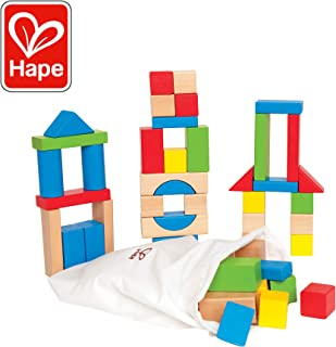 Maple Wood Kids Building Blocks by Hape   Stacking Wooden Block Educational Toy Set for Toddlers, 50 Brightly Colored Pieces in Assorted Shapes and Sizes