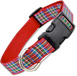The Artful Canine Scottish Plaid Dog Collar, Royal Stewart Tartan, Collar