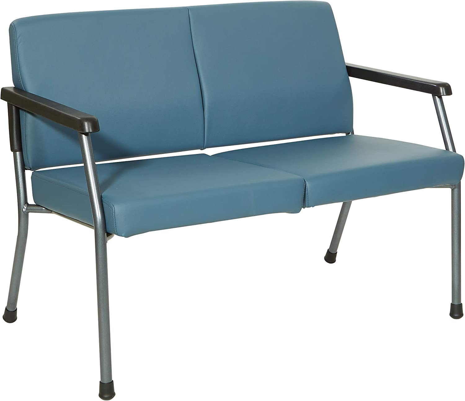 Office Star Bariatric Hip Patient Big and Tall Loveseat Medical Office Chair with Wider Seat and Sturdy Titanium Finish Metal Frame and Back Reinforcement, Dillon Blue