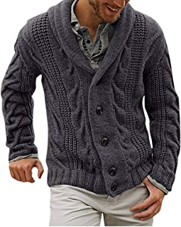 Mens Knitted Cardigan Jacket Thick Sweater Classic Shawl Neck Button-up Warm Winter Coat Wool Blend 4 Colors