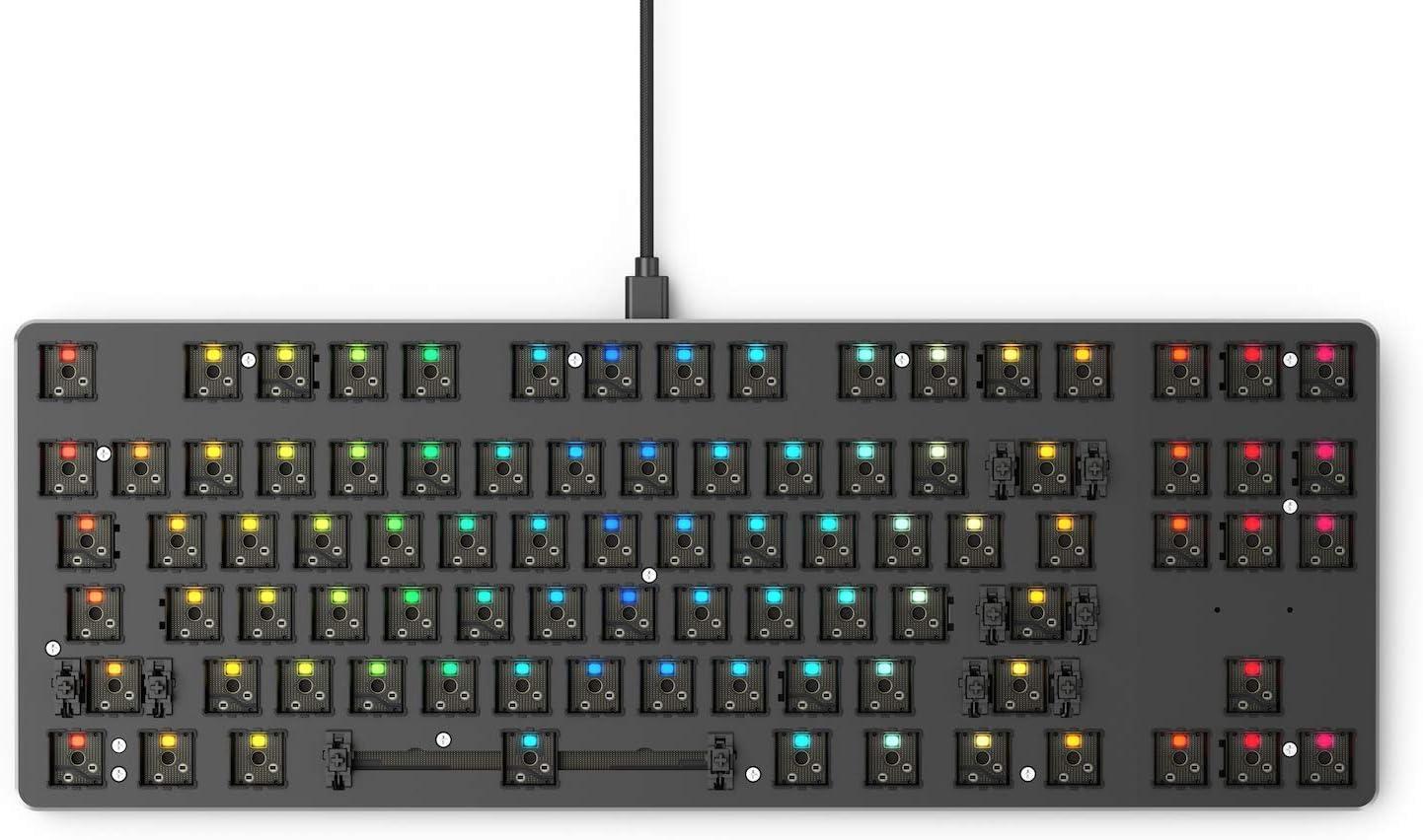 Glorious GMMK Modular Mechanical Gaming Keyboard - Barebone Edition (DIY Assembly Required) - RGB LED Backlit, Hot Swap Switches (Customizable) (Tenkeyless, Black)