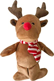 Midlee Christmas Reindeer Plush Dog Toy with Scarf