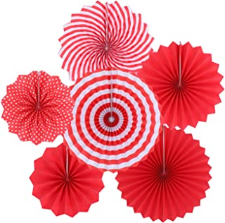 Zilue Hanging Red Paper Fans Decoration Set for Wedding Birthday Party New Years Round Events Accessories Set of 6
