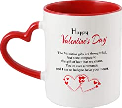 iKraft® Happy Valentine's Day Printed Coffee Mug, Red 325ml Inner and Handle Colour Tea Cup for Him/Her