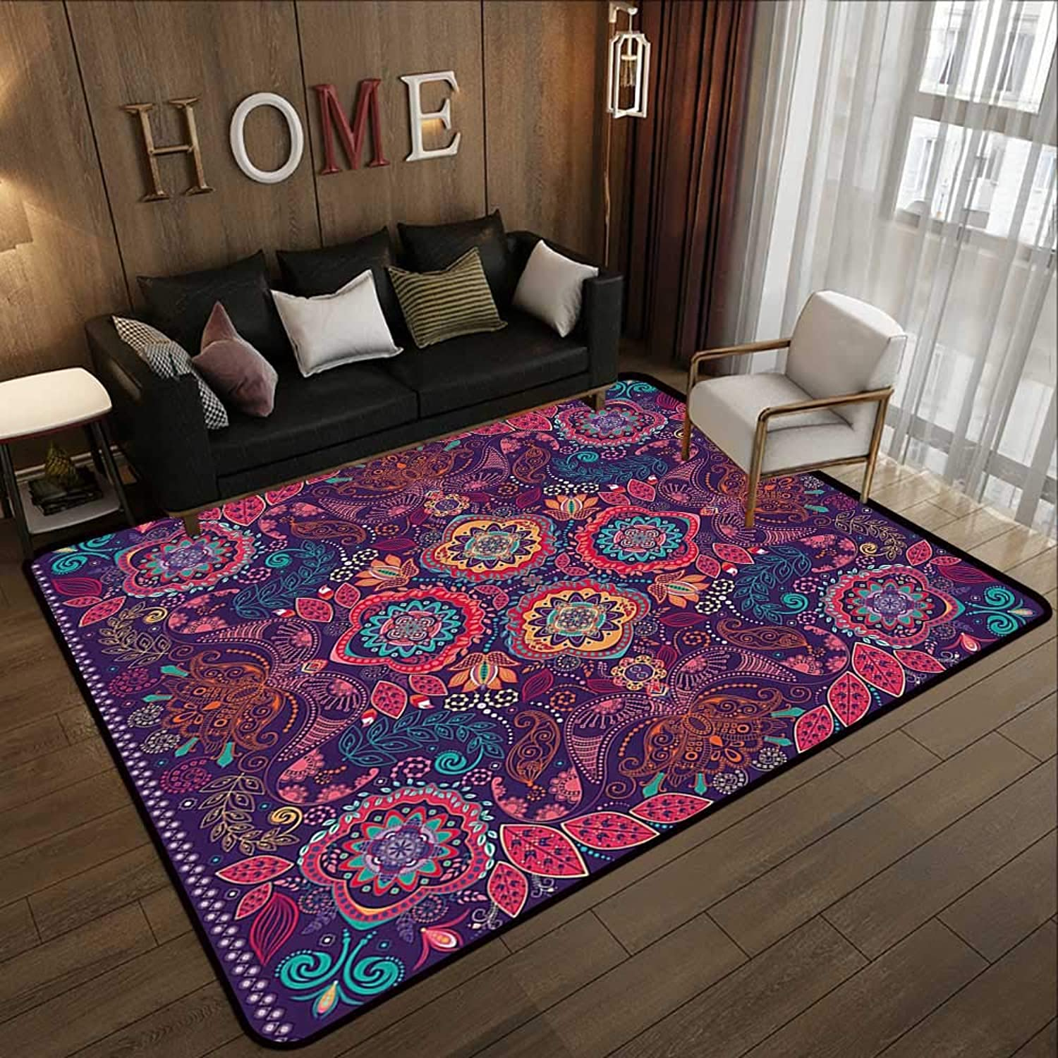 Carpet mat,Paisley,Modern Classic Ethnic Asian Design with Dots Leaves and Flowers Artistic Print,Multicolor 35 x 59  Floor Mat Entrance Doormat