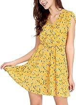 Allegra K Women's Boho Crossover V Neck Petal Sleeves Belted Floral Flowy Dress