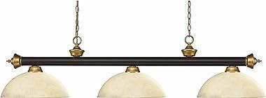 Z-Lite 200-3BRZ+SG-DGM14 Riviera - Three Light Island/Billiard, Glass Options: Dome Golden Mottle Glass