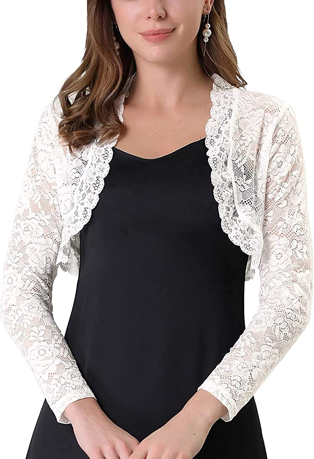 Women Floral Lace Cropped Shrug Bolero Cardigan Long Sleeve Open Front Sheer Cover Up Jacket Capes