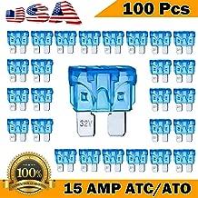 Kodobo 100 Pack Auto Fuses 15 AMP ATC/ATO Standard Regular Fuse Blade 15A Car Truck Boat Marine RV - 100Pack