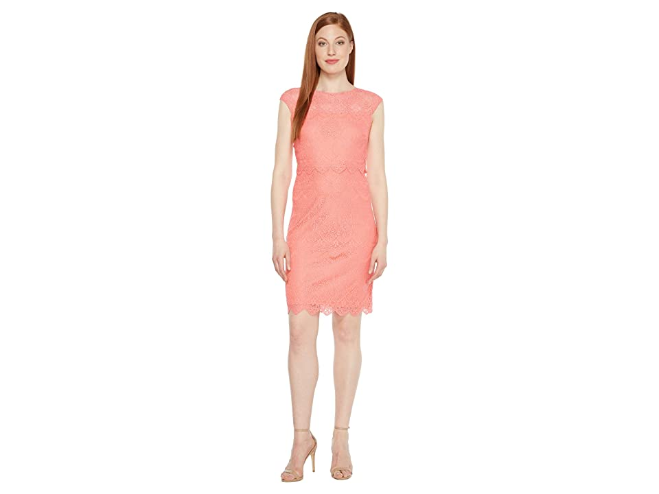 Sangria Pop Over Coral Dress (Coral) Women