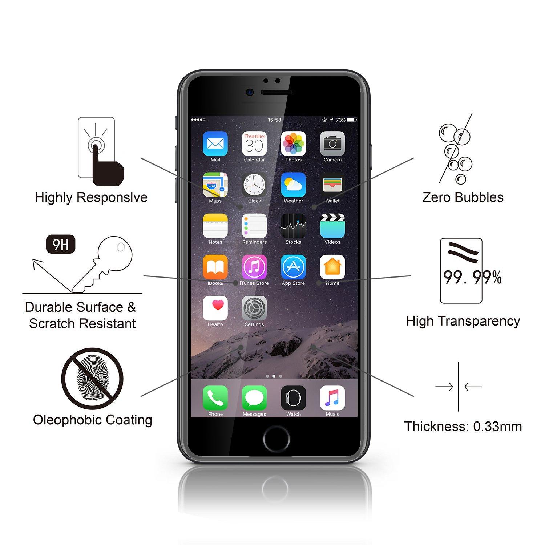 Doca iPhone 6 6S Protector de pantalla, 3d cobertura completa ...