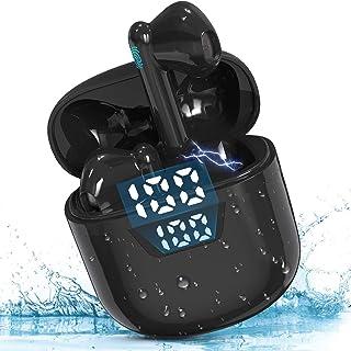 Audífonos Inalámbricos Bluetooth 5.0 TYC, Auriculares Inalámbricos Deportivos Mini Sonido Estéreo In-Ear, Auriculares Bluetooth IPX6 Impermeable con, Control Táctil y LED Pantalla Caja de Carga Portátil de Gran Capacidad y Micrófono Integrado para iPhone y Android