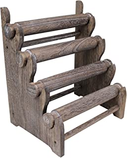 Ikee Design Antique Coffee Color Wooden 4 Tier Bar Bracelet/Bangle Jewelry Holder Stand Display Organizer