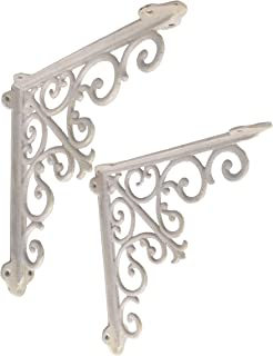 NACH js-90-062AW Cast Iron Victorian Shelf Mount Bracket, Medium 10.5 x 1.9 x 10.5 Inches, White, 2 Pack