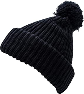 Thick Winter Hat Knit with Soft Plush Lining for Men and Women - Cable Knit Cuff Winter Hat Beanie with Cozy Lining & Pom Pom