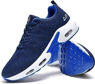 کفش های دویدن هوایی مردانه Quseek کفش های ورزشی پیاده روی تنیس ورزشی تنفسی کفش های ورزشی تسمه ای بدون لغزش برای دویدن مناسب تناسب اندام مشکی ایالات متحده 7-12.5