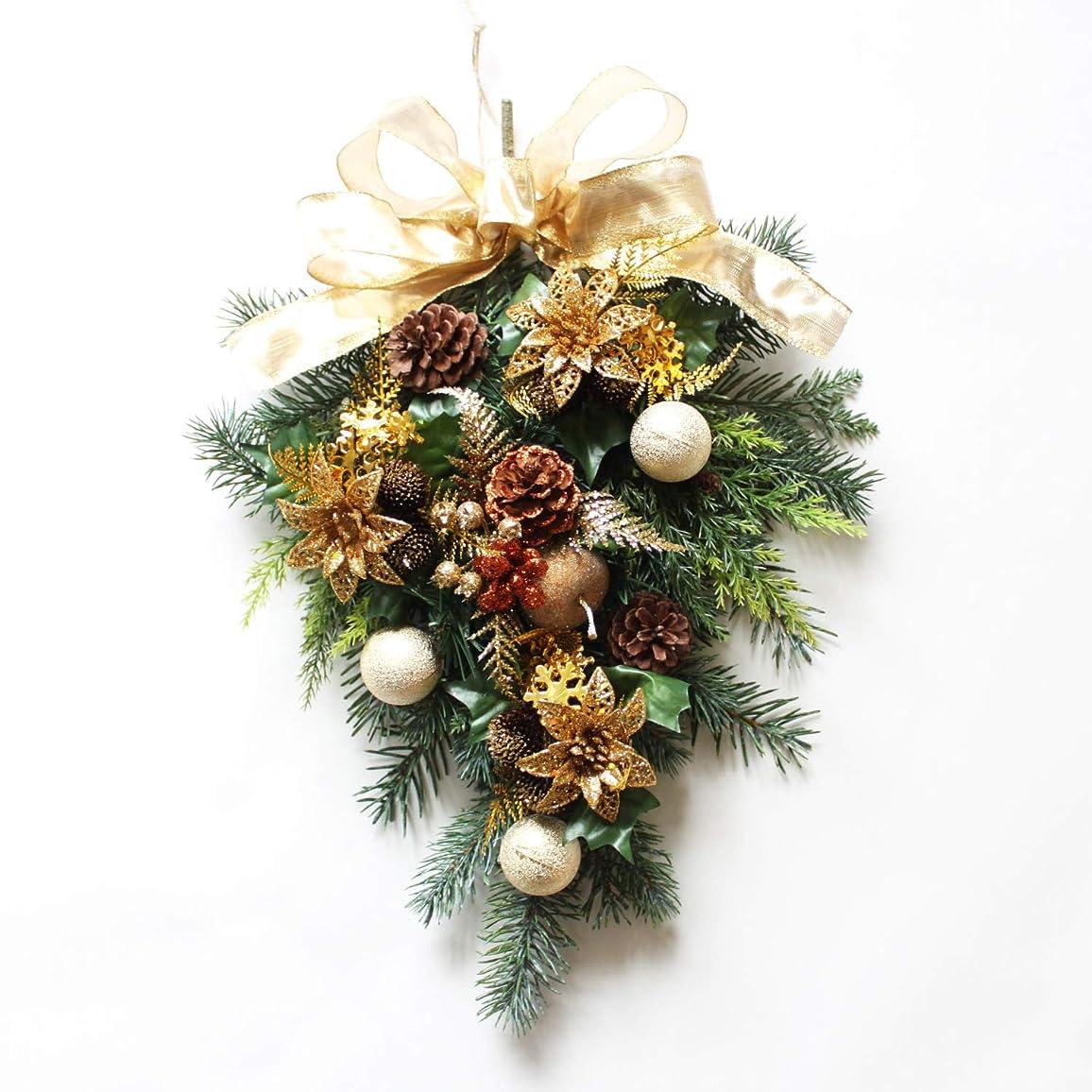 きゅうりスタジオ比較的グランドグルー クリスマスリース クリスマス飾り クリスマス玄関飾り スワッグ 造花 アーティフィッシャルフラワー 玄関飾り 壁掛け