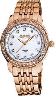 August Steiner Women's Luxury Dress Watch - Crystal Bezel around White Mother of Pearl Dial with Diamond Hour Markers on Rose Gold ToneBracelet - AS8045