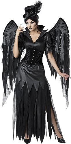Schwarz Kr  Gothic Hexe Kostüm mit Flügeln - Small