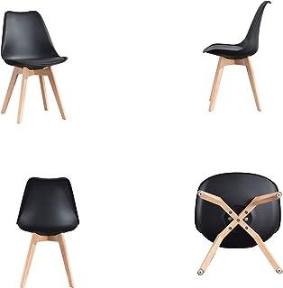 Comfortableplus – Juego de 4 sillas de Cocina de Madera, Estilo Retro Tulip Acolchado, Silla de Oficina con Patas de Madera de Haya Maciza, Color Negro