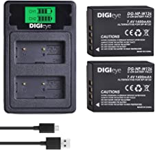 DIGIeye NP-W126 NP-W126S Battery (2 Pack) and Compact LCD USB Dual Charger for Fujifilm NP-W126; Fuji X-T3, X-T2, X-T1,X-A5, X-E3, X-E2, X-E1, X100F, X-H1, X-M1, X-Pro2, X-Pro1, X-T10