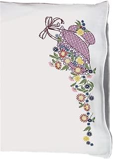 Fairway Needlecraft 83036 Perle Edge Pillowcases, Bonnet and Flowers Design, Standard Size, White