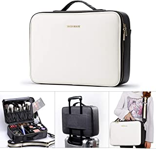 BEGIN MAGIC Professional Makeup Case Large Makeup Bag Organizer Travel Make up Case Cosmetic Case Artist Carry Box with Adjustable Compartment Brush Holder Shoulder Strap Portable Black White