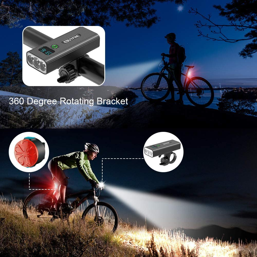EBUYFIRE Bicycle Lights Set USB Rechargeable,Super Bright Bicycle Front Headlight and Back Taillight,5 Light Modes,IPX5 Waterproof,LED Digital Display Bike Light for All Bicycles