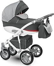 Lux4kids Cochecito 3 in 1 Silla de paseo + capazo + silla para coche + rutas giratorias neumática - giratorias Sirion gris & antracita Si-13 con Isofix con Pecho de lana