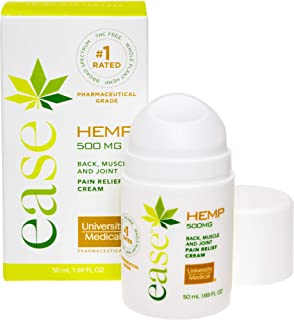 Ease Natural Hemp Extract Pain Relief Cream - 500 Mg - Pharmaceutical Grade - Contains Arnica with Menthol - Relieves Joint, Back, Knee, Inflammation, Muscle, Arthritis, and Nerve Pain - Made in USA