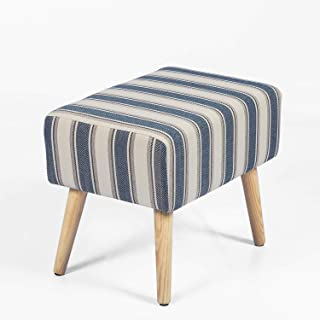 Joveco Ottoman Footrest Stool Small Fabric Footstool (Blue Stripe)