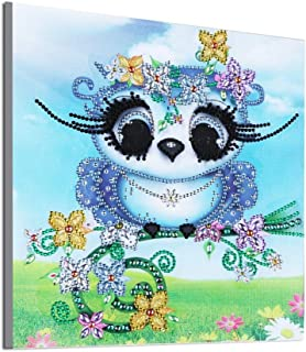 DIY Diamond Painting, 5D Partial Drill Cute Owl Cross Stitch Kits Crystal Rhinestone of Picture Serial Diamond Embroidery Arts Craft