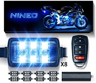 NINEO RGB LED Strip Lights Kit Multi-Color Neon w/Remote Controller Compatible with ATV UTV Cruiser Harley Davidson Ducati Suzuki Honda Triumph BMW Kawasaki Yamaha (Pack of 8)