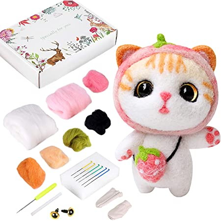 4 Animals Crafts Wool Kits for Gift,Home Decorations,Festival Sukaswi DIY Needle Felting Kit for Adults Beginner and Starter